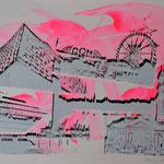 Collage weiß und schwarz auf pink, 50 x 65 cm