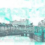 Speicherstadtbrücke und Elbphilharmonie Anthrazit auf Mint, 30 x 21 xm
