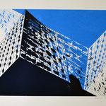 Elbphilharmonie von unten, dunkelblau und hellblau upsidedown, 42 x 60 cm