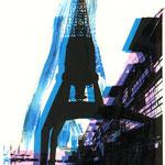 Ostkai schwarz auf Malerei blau-violett
