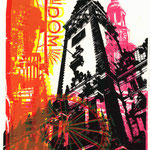 Rotgelber Dom auf schwarzem Rathaus auf pinkem Michel, 21 x 29 cm
