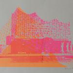 Elbphilharmonie seitwärts neonpink und von unten neonorange, 42 x 60 cm