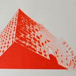 Elbphilharmonie von unten, rot und neonorange, 42x60 cm