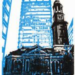 Schwarzer Michel auf blauem Astraturm, 21 x 29 cm