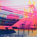 Dockland, Elphi und Tollerort, Blau, Neonorange und Neionpink, 70 x 100 cm
