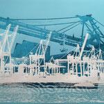 Hafenkräne und Tollerort, Weiß und Blau auf Blau, 70 x 100 cm