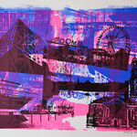 Collage schwarz und blau upsidedown auf pinker Collage, 50 x 65 cm