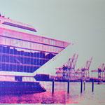 Dockland und Kräne blau und neonpink, 70 x 100 cm
