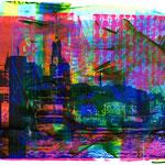 Blaue Landungsbrücken auf pinker Collage und blau-gelb-grün