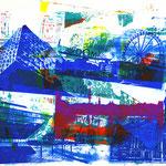 Blaue Collage auf weißer Collage upside-down + pinke Alster