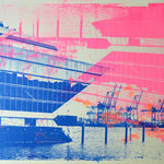 Dockland und Kräne dunkelblau und neonpink upsidedown, 70 x 100 cm