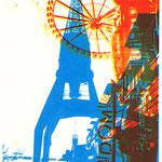 Rotgelber Dom auf Ostkai blau  29,5 x 21 cm - verkauft