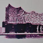 Elbphilhamronie seitwärts, dunkelblau und neonpink, 42 x 60 cm