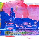 Blaue Landungsbrücken auf roter Fläche, 50 x 65 cm