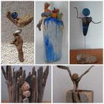 Foto-Collage von Treibholz-Objekte