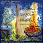 FrauenZauber-Grusskarte-eine Wache am Feuer
