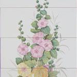 Fresque florale sur carrelage faïence-Atelier Pascale B.-Pascale Stella Brigand