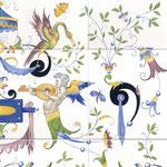 Reproduction d'une fresque Renaissance sur Faïence-Atelier Pascale B.-Pascale Stella Brigand
