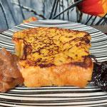 brioche façon pain perdu, confiture de myrtille de la loire et crème de marron de l'ardèche