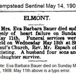 Hempstead Sentinel - Barbara Bauer Dies - May 14, 1908.
