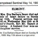Hempstead Sentinel - Barbara Bauer Dies - May 14, 1908.