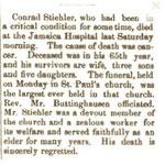 Hempstead Sentinel - Obituary, Conrad Stiehler - 1901
