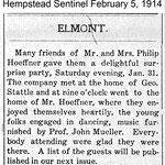 Hempstead Sentinel - Mr. & Mrs. Phillip Hoeffner - Feb. 5, 1914