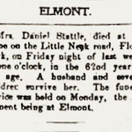 Hempstead Sentinel - Obituary:  Mrs. Daniel Stattel - Jan. 5, 1905