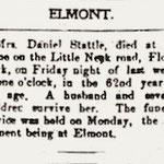 Hempstead Sentinel - Obituary:  Mrs. Daniel Stattel - Jan. 5, 1905