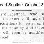 Hempstead Sentinel - Leonard Hoeffner WWI  - Oct 31, 1918