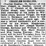 Brooklyn Standard Union - Charles Goeller's  Obituary - Sept. 1919