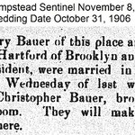 Hempstead Sentinel - Bauer & Hartford Marriage - Nov. 8, 1906