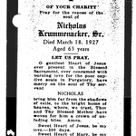 Krummenacker, Nicholas Sr. - 1927