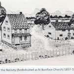Church of the Nativity of Our Lord - Rededicated as St. Boniface Church (1857-1869) Elmont Rd. Elmont - image (from St. Boniface 100th Anniversary Booklet)