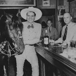 Herman's Hotel - Tom Mix (Silent screen cowboy star) at Herman's Hotel, Jake Herman far right, far left, Tony the wonder horse. - 1930s