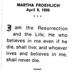 Froehlich, Martha - 1986