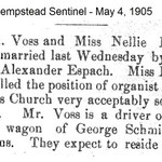 Hempstad Sentinel - Voss & Bauer Marriage - May 4, 1905