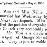 Hempstad Sentinel - Voss & Bauer Marriage - May 4, 1905