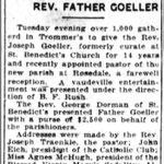 Brooklyn Daiky Eagle - Rev Goeller - Farewell Reception - July 31, 1924