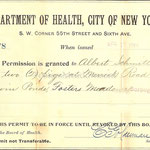 Department of Health, City of New York - Permission granted to keep 2 pigs - Albert Schmitt - Fosters Meadow - April 17, 1901