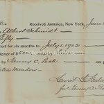 Interests for 6 months on mortgage - Albert Schmitt - Fosters Meadow - July 1, 1902