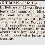 Brooklyn Eagle - Hartman-Krug Marriage - Feb. 12, 1898