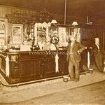"Kalb Hotel, ""The Farmers Old Spot""  Hempstead Tnpk., Franklin Square, ca 1920, (Gus Kalb and Gus Jr. behind the bar, Mr. Hoeffner in front of bar, Nicholas Kreischer with dog) c. 1900"