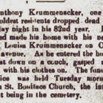 Hempstead Sentinel Anthony - Krummacker Died  - Jan. 1906