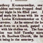 Hempstead Sentinel Anthony - Krummacker Died  - Jan. 1906