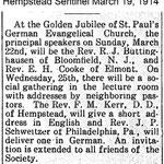 Hempstead Sentinel - St. Paul's Anniversary - March 19, 1914