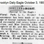 Brooklyn Daily Eagle - George & Drucilla Wedding Announcement - Oct. 3, 1906