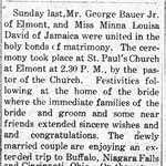 Hempstead Sentinel - Bauer -  David Marriage - March 4, 1909