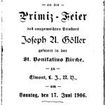 Goeller, Fr. Joseph U 1906 - First Mass