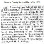 Queens County Sentinal - Fosters Meadow Railroad Line Corrected - March 29, 1866